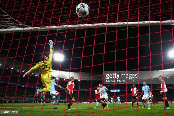 John Stones of Manchester City scores their fourth goal past goalkeeper Brad Jones of Feyenoord during the UEFA Champions League group F match...