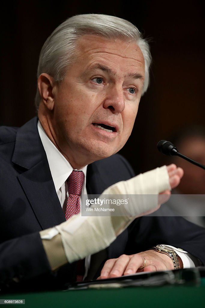 John Stumpf, chairman and CEO of the Wells Fargo & Company, testifies before the Senate Banking, Housing and Urban Affairs Committee September 20, 2016 in Washington, DC. The committee heard testimony on the topic of 'An Examination of Wells Fargo's Unauthorized Accounts and the Regulatory Response.'