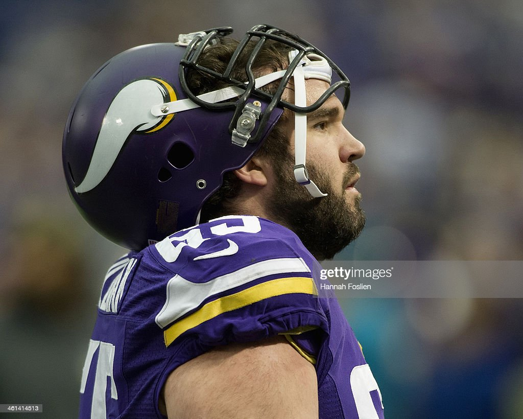 John Sullivan #65 of the Minnesota Vikings looks on before the game against the Detroit Lions on December 29, 2013 at Mall of America Field at the Hubert H. Humphrey Metrodome in Minneapolis, Minnesota.