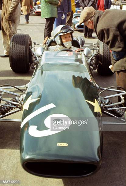 John Surtees seated in a Lola BMW Silverstone Northamptonshire