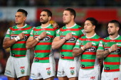 John Sutton Greg Inglis Sam Burgess Issac Luke and Adam Reynolds of the Rabbitohs pay their respects for Alex McKinnon by wearing 'Rise For Alex'...
