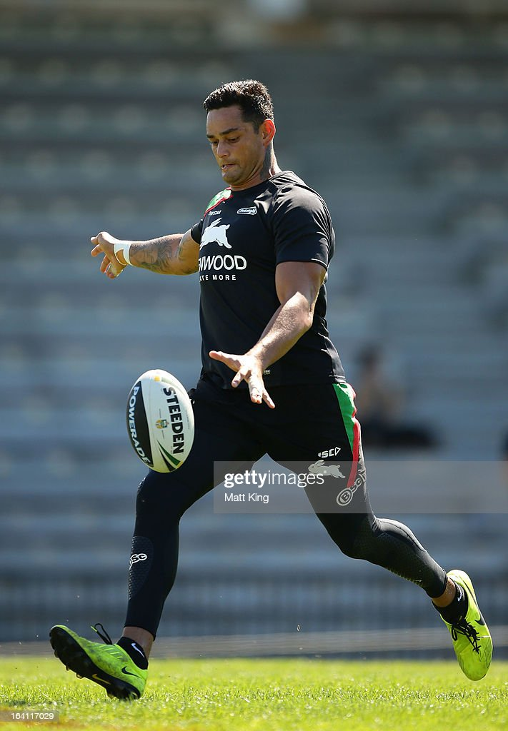 <a gi-track='captionPersonalityLinkClicked' href=/galleries/search?phrase=John+Sutton&family=editorial&specificpeople=227216 ng-click='$event.stopPropagation()'>John Sutton</a> kicks during a South Sydney Rabbitohs NRL training session at Redfern Oval on March 20, 2013 in Sydney, Australia.