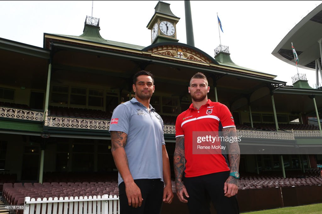 John Sutton of the Rabbitohs and Josh Dugan of the Dragons stand at the front of the members pavillion during an NRL press conference at Sydney Cricket Ground on April 1, 2014 in Sydney, Australia.