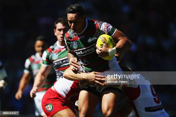 John Sutton of the Rabbitohs charges forward during the match between the South Sydney Rabbitohs and the St George Illawarra Dragons in the Auckland...