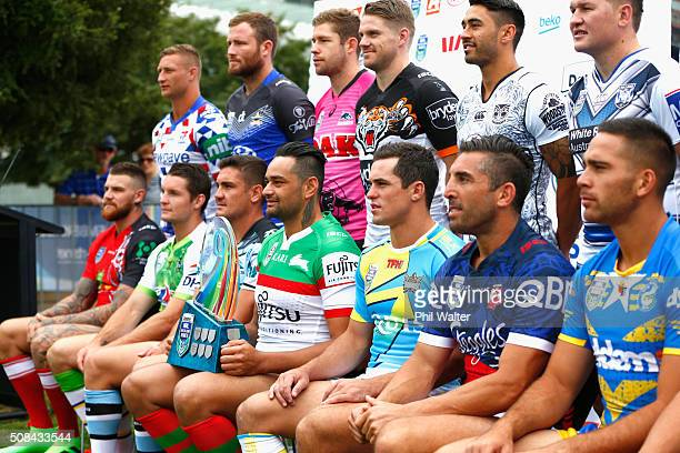John Sutton of the Rabbitohs holds the NRL Nines trophy during a NRL Auckland Nines captains press conference at Aotea Square on February 5 2016 in...