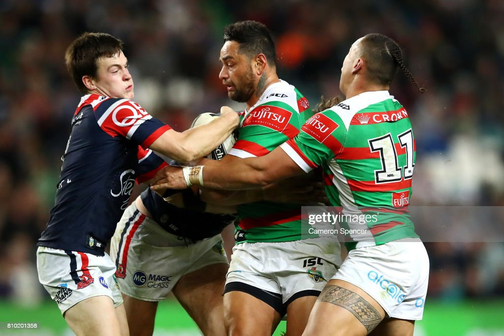 John Sutton of the Rabbitohs is tackled during the round 18 NRL match between the Sydney Roosters and the South Sydney Rabbitohs at Allianz Stadium on July 7, 2017 in Sydney, Australia.