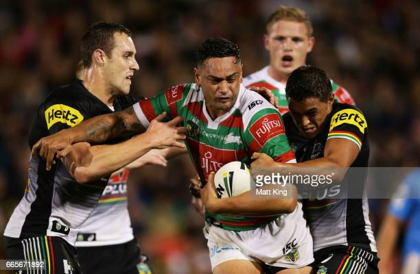 John Sutton of the Rabbitohs is tackled during the round six NRL match between the Penrith Panthers and the South Sydney Rabbitohs at Pepper Stadium...