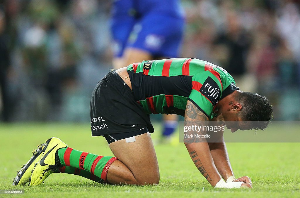 John Sutton of the Rabbitohs looks dejected after defeat in the round seven NRL match between the South Sydney Rabbitohs and the Canterbury-Bankstown Bulldogs at ANZ Stadium on April 18, 2014 in Sydney, Australia.
