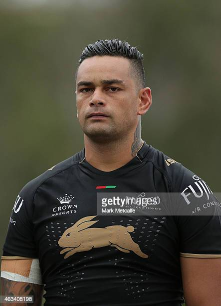 John Sutton of the Rabbitohs looks on during a NRL preseason match between the South Sydney Rabbitohs and the Northern Pride at Redfern Oval on...
