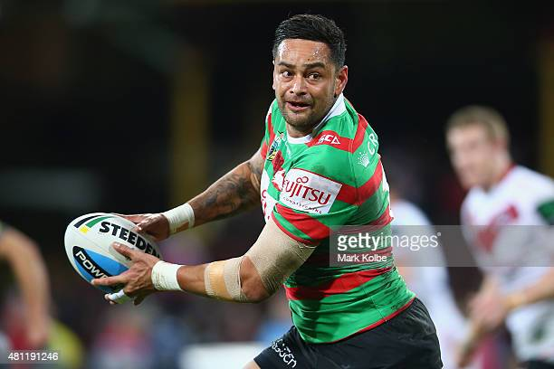 John Sutton of the Rabbitohs looks to pass after making a break during the round 19 NRL match between the St George Illawarra Dragons and the South...