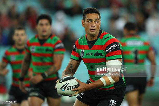 John Sutton of the Rabbitohs looks to pass during the round 12 NRL match between the South Sydney Rabbitohs and the Canberra Raiders at ANZ Stadium...