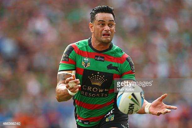 John Sutton of the Rabbitohs passes during the round two NRL match between South Sydney Rabbitohs and the Sydney Roosters at ANZ Stadium on March 15...