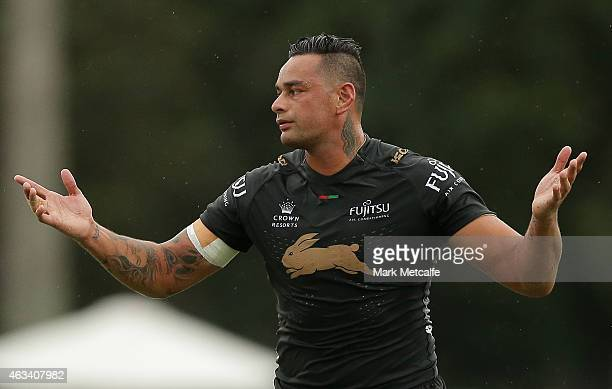 John Sutton of the Rabbitohs reacts during a NRL preseason match between the South Sydney Rabbitohs and the Northern Pride at Redfern Oval on...