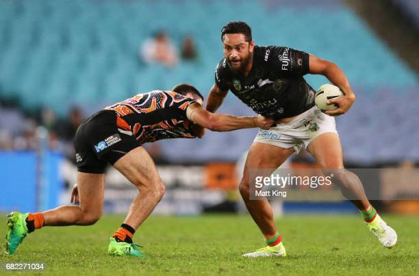 John Sutton of the Rabbitohs takes on the defence during the round ten NRL match between the Wests Tigers and the South Sydney Rabbitohs at ANZ...
