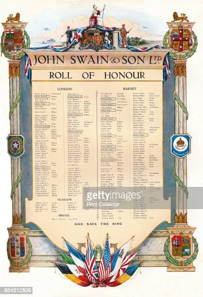 John Swain Son Ltd Roll of Honour 1917 From The British Printer Vol XXX [Raithby Lawrence Co Ltd London and Leicester 1917] Artist John Swain Son