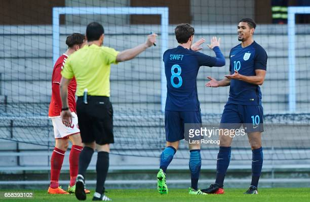 John Swift and Ruben LoftusCheek of England U21 celebrates after scoring their first goal during the U21 International friendly match between Denmark...