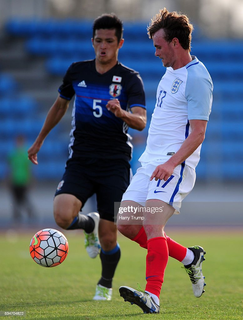 John Swift of England is tackled by Naomichi Ueda of Japan during the Toulon Tournament match between Japan and England at the Stade Leo Lagrange on May 27, 2016 in Toulon, France.