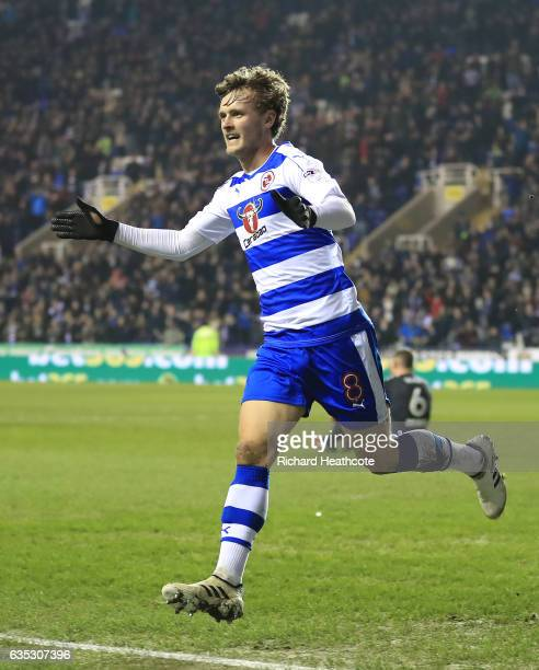 John Swift of Reading celebrates scoring the first goal during the Sky Bet Championship match between Reading and Brentford at Madejski Stadium on...