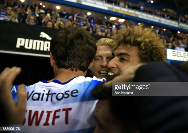John Swift of Reading Paul McShane of Reading and Daniel Williams of Reading celebrate after the Sky Bet Championship Play Off Second Leg match...