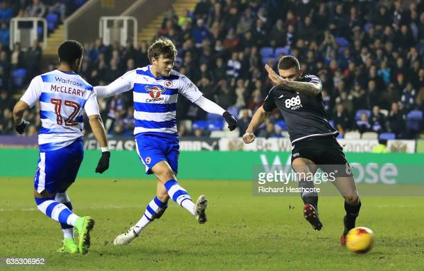 John Swift of Reading scores the first goal during the Sky Bet Championship match between Reading and Brentford at Madejski Stadium on February 14...