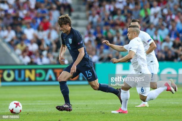 John Swift Stanislav Lobotka during the UEFA U21 European Championship Group A football match Slovakia vs England in Kielce Poland on June 19 2017