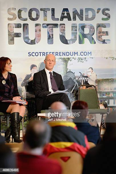 John Swinney Scottish Finance Secretary addresses members of the public at a debate on Scottish independence at Falkirk Town Hall on February 11 2014...