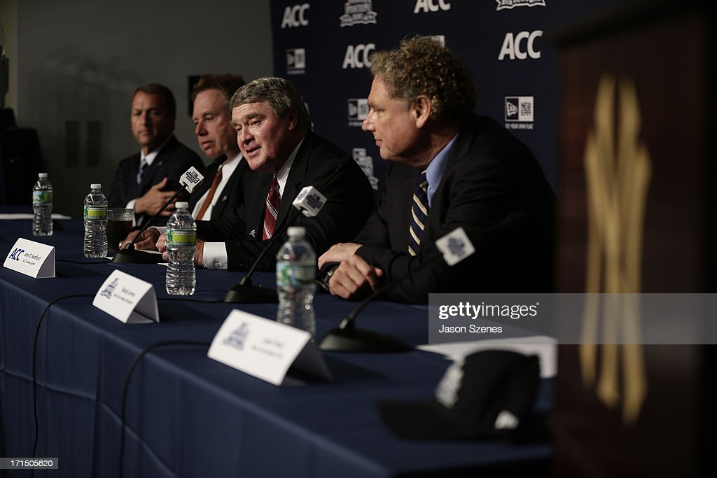 John Swofford, ACC Commissioner (C) addresses the media during a press conference to announce the New Era Pinstripe Bowl's multi-year partnership with the Atlantic Coast Conference at Yankee Stadium on June 25, 2013 in the Bronx borough of New York City.
