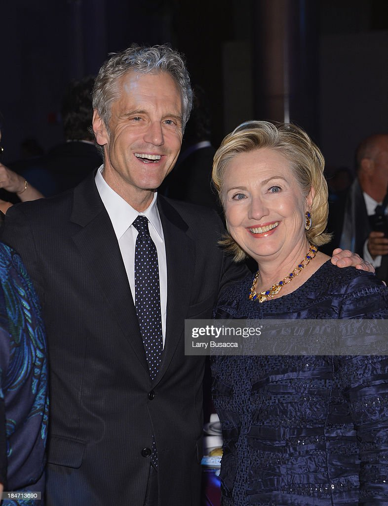 John Sykes and Founder's Award Honoree Hillary Rodham Clinton attend the Elton John AIDS Foundation's 12th Annual An Enduring Vision Benefit at...