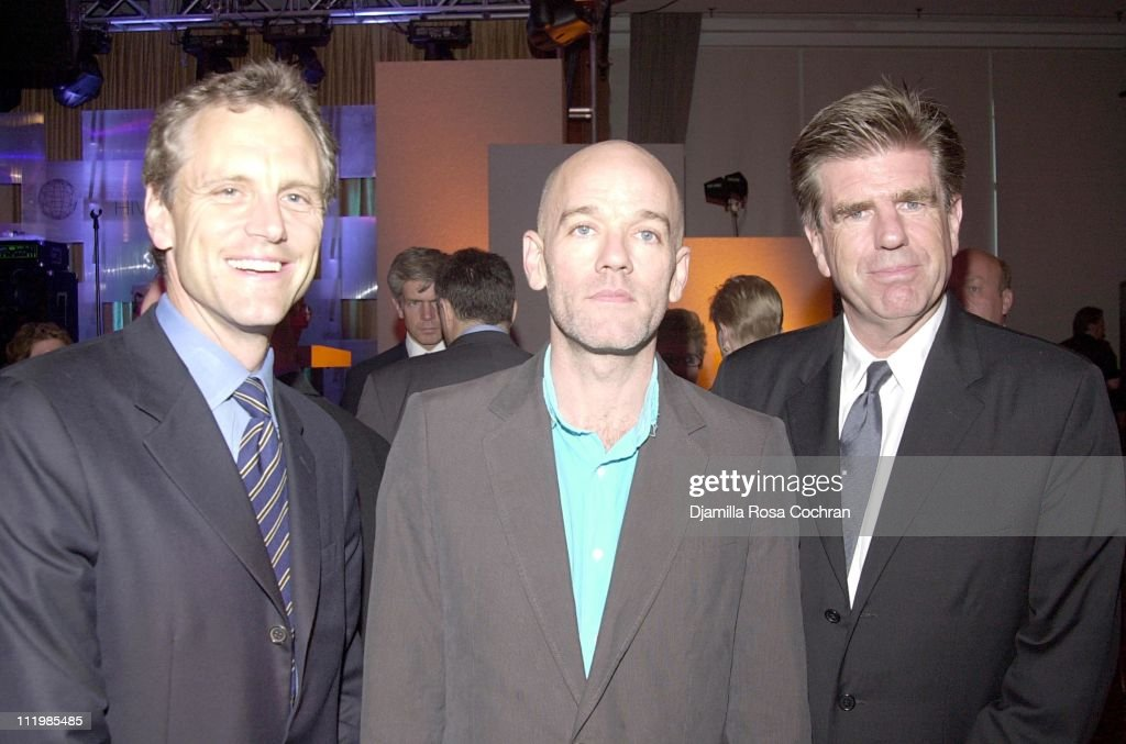 John Sykes Michael Stipe and Tom Freston during 2002 Awards For Business Excellence at Chelsea Piers in New York City New York United States
