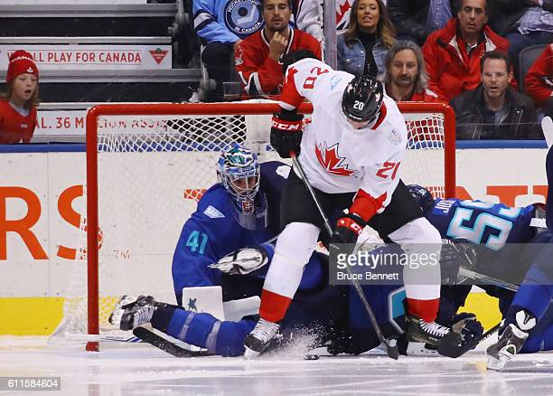 John Tavares of Team Canada attempts to get the puck past Jaroslav Halak of Team Europe during Game Two of the World Cup of Hockey final series at...