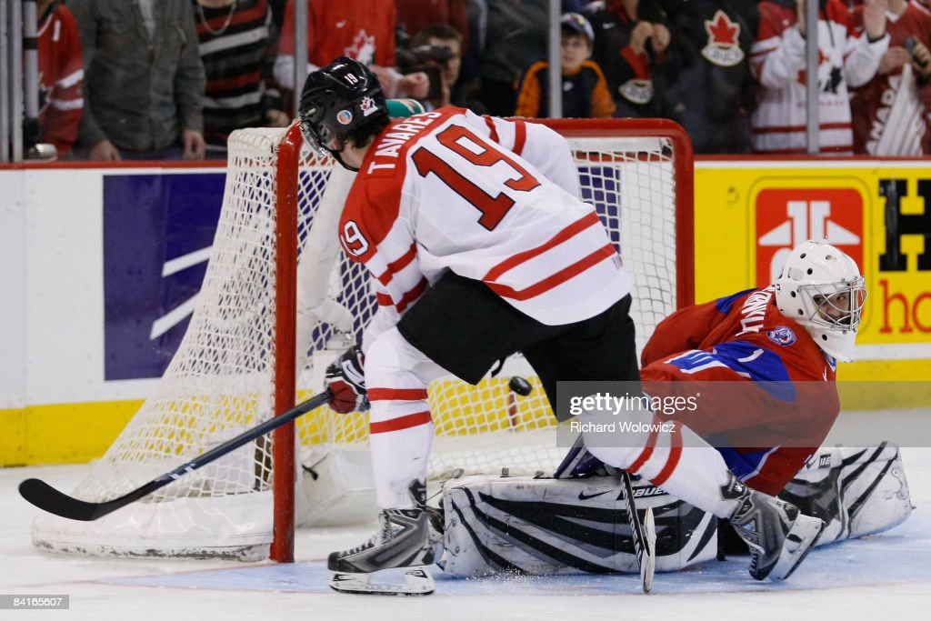 John Tavares of Team Canada scores his shootout attempt on Vadim Zhelobnyuk of Team Russia during the semifinals at the IIHF World Junior...