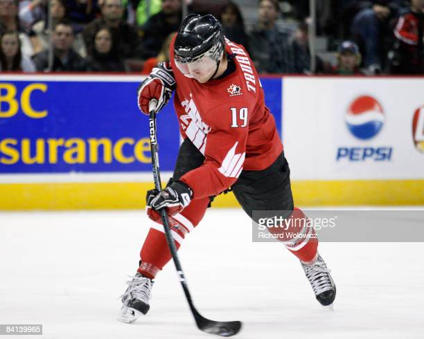 John Tavares of Team Canada shoots the puck during the game against Team Germany during the IIHF World Junior Championships at Scotiabank Place on...