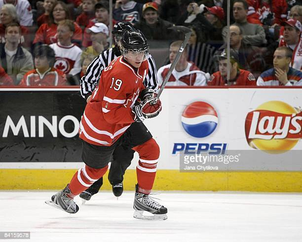 John Tavares of Team Canada skates against Team USA during the 2009 IIHF World Junior Championships held at Scotiabank Place on December 31 2008 in...