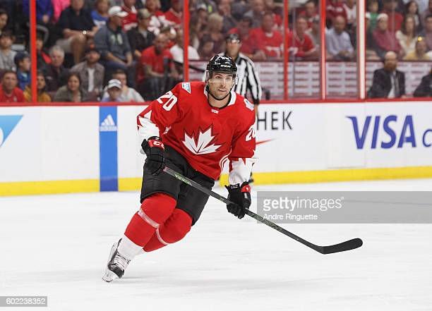 John Tavares of Team Canada skates during a World Cup of Hockey 2016 PreTournament game against Team USA at The Canadian Tire Centre on September 10...