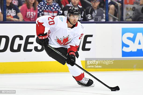 John Tavares of Team Canada skates with the puck during the first period of an exhibition game against Team USA on September 9 2016 at Nationwide...
