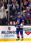 John Tavares of the New York Islanders celebrates his goal in the third period against the Nashville Predators at the Barclays Center on October 15...