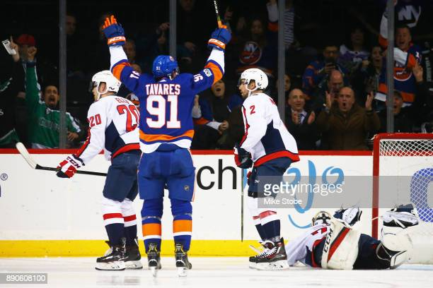 John Tavares of the New York Islanders celebrates his second period goal against a sprawling Braden Holtby of the Washington Capitals at Barclays...