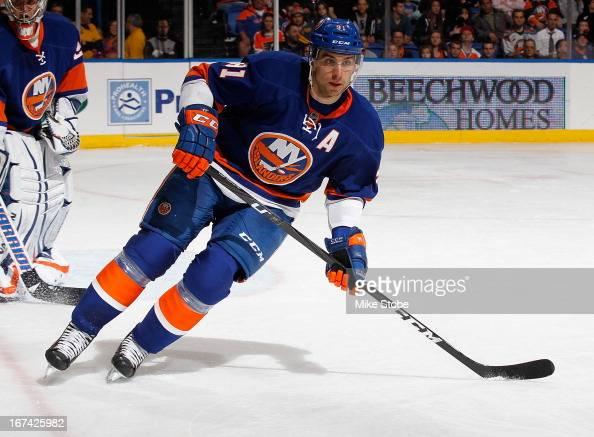 John Tavares of the New York Islanders skates against the Philadelphia Flyers at Nassau Veterans Memorial Coliseum on April 9 2013 in Uniondale New...