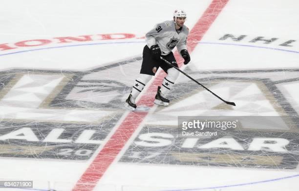 John Tavares of the New York Islanders skates through center ice during the 2017 Honda NHL AllStar Game at Staples Center on January 29 2017 in Los...