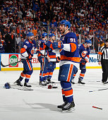 John Tavares of the New York Islanders yells in the direction of the fans following a 31 victory over the Washington Capitals in Game Six of the...