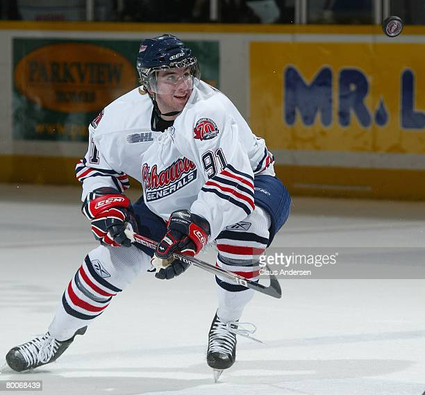 John Tavares of the Oshawa Generals eyes the puck in a game against the Peterborough Petes on February 28 2008 at the Peterborough Memorial Centre in...