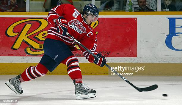 John Tavares of the Oshawa Generals fires a shot on goal in a game against the Peterborough Petes on November 6 2008 at the Peterborough Memorial...