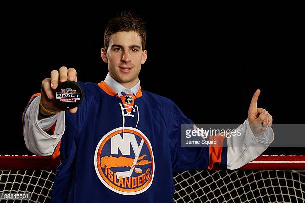 John Tavares poses for a portrait after being picked number one overall in the 2009 NHL Entry Draft by the New York Islander at the Bell Centre on...