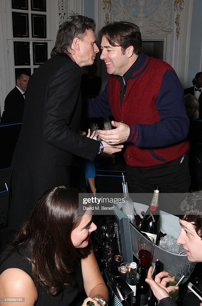John Taylor and Jonathan Ross are seen at The Savoy Hotel on February 19 2014 in London England