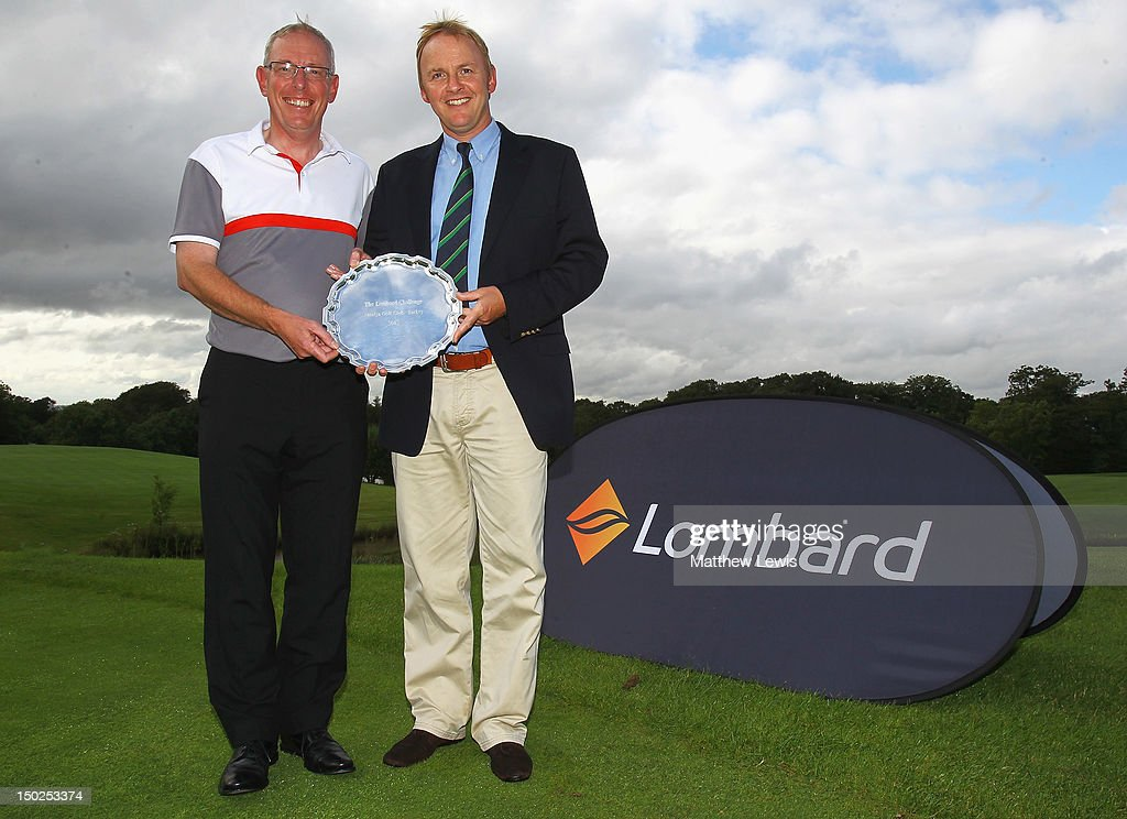John Taylor and Neil Rowlands of Broadstone Golf Club pictured after winning the Lombard Challenge Regional Qualifier at Woodbury Park Golf Club on August 13, 2012 in Exeter, England.