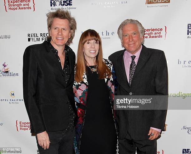 John Taylor Mackenzie Phillips and Leonard Buschel attend the 7th Annual Experience Strength And Hope Awards at Skirball Cultural Center on February...