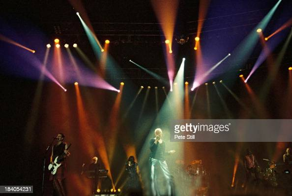John Taylor Nick Rhodes and Simon Le Bon of Duran Duran perform on stage at Wembley Arena on January 28th 1994 in London England