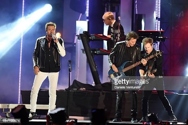 John Taylor Nick Rhodes Simon Le Bon and Roger Taylor of Duran Duran perform at the Milan Music Week World Stage ahead of the MTV EMA's 2015 at...