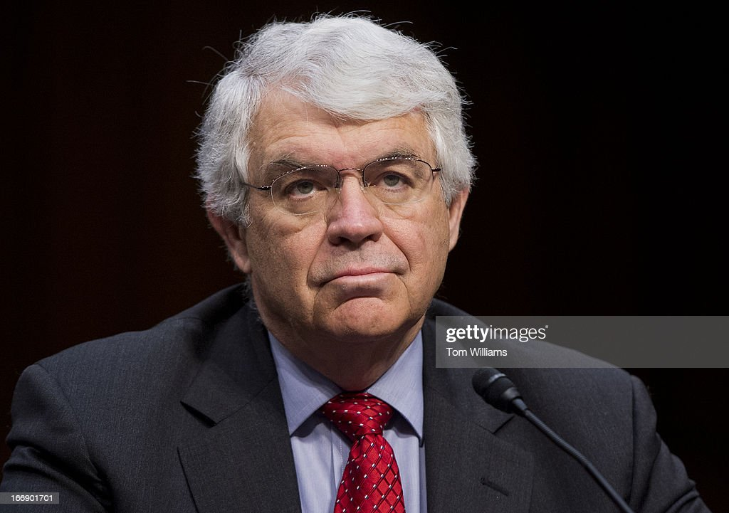 John Taylor, of professor of economics at Stanford University and senior fellow in economics at the Hoover Institution, prepares to testify at a Joint Economic Committee hearing in Hart Building titled 'The Fed at 100: Can Monetary Policy Close the Growth Gap and Promote a Sound Dollar.'