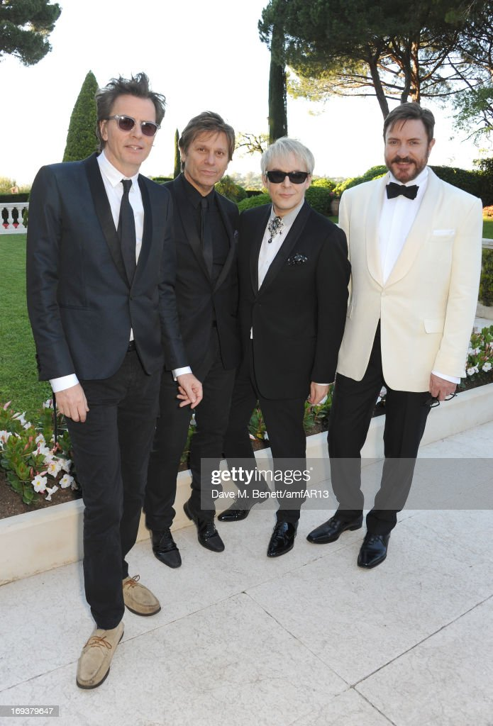 <a gi-track='captionPersonalityLinkClicked' href=/galleries/search?phrase=John+Taylor+-+Musicista+-+Duran+Duran&family=editorial&specificpeople=203049 ng-click='$event.stopPropagation()'>John Taylor</a>, Roger Taylor, <a gi-track='captionPersonalityLinkClicked' href=/galleries/search?phrase=Nick+Rhodes&family=editorial&specificpeople=206732 ng-click='$event.stopPropagation()'>Nick Rhodes</a> and <a gi-track='captionPersonalityLinkClicked' href=/galleries/search?phrase=Simon+Le+Bon&family=editorial&specificpeople=160698 ng-click='$event.stopPropagation()'>Simon Le Bon</a> of Duran Duran attend amfAR's 20th Annual Cinema Against AIDS during The 66th Annual Cannes Film Festival at Hotel du Cap-Eden-Roc on May 23, 2013 in Cap d'Antibes, France.